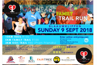 One Heart Family Trail Run: 9 September at Blaauwklippen in Stellenbosch