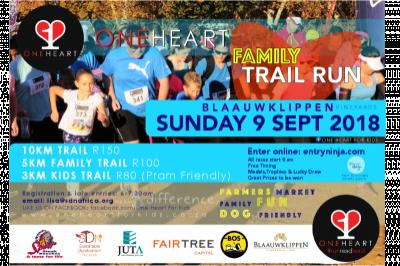 One Heart Family Trail Run: 9 September at Blaauwklippen in Stellenbosch