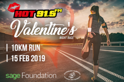 Hot 91.9FM Valentine's Night Race 10km in partnership with Sage Foundation