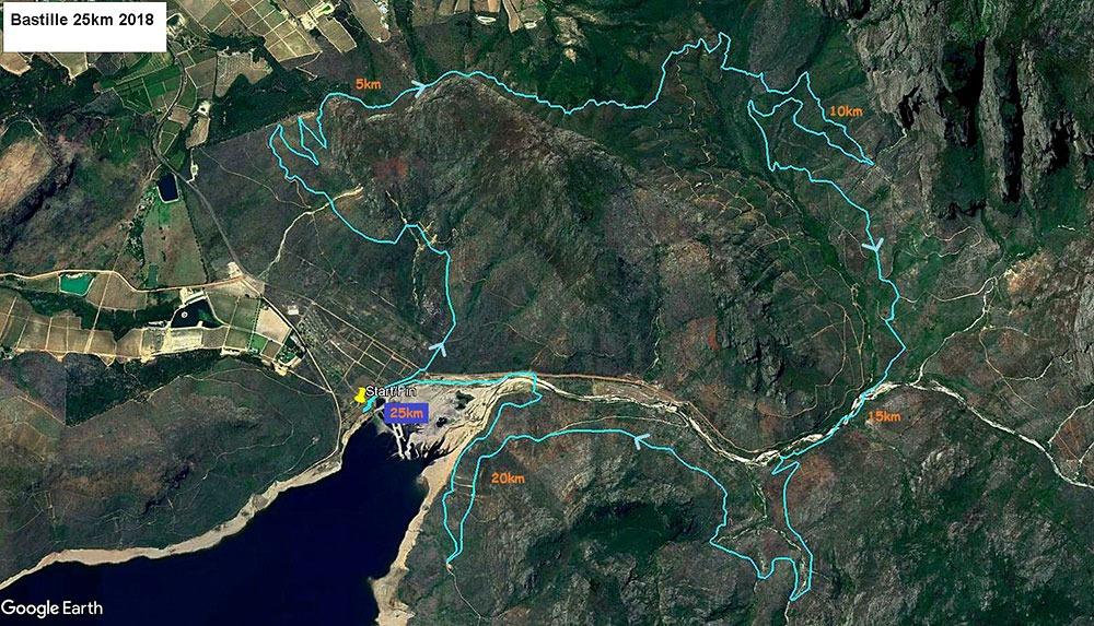 Bastille 25km 2018 Map kms