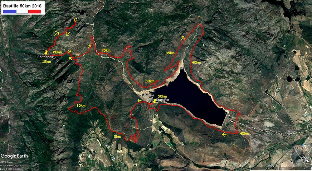 Bastille 50km 2018 Map kms2